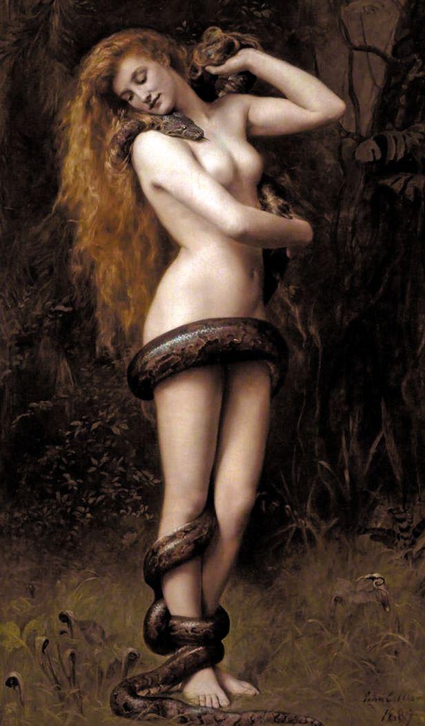 19세기 英화가 존 콜리어의 '릴리트' - '릴리트'는 유대 신화에서 남자 '아담'과 동시에 창조된, '이브'보다 앞선 첫 번째 여인으로 전해진다. 유대교 신비주의자들이 창세기 1장과 2장의 모순을 없애려 고안한 해석으로도, 가나안에서 숭배받던 다산의 여신을 차용한 것으로도 여겨진다. 1970년대 유대 페미니즘 운동이 일어나며, '릴리트'는 남성과 신에 맞서 자신의 권리를 위해 투쟁한 최초의 여성으로 재조명받았다. 존 콜리어, '릴리트'(1889), 영국 사우스포트 앳킨슨 아트갤러리 소장. /위키피디아