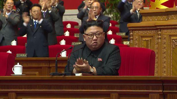 북한 조선중앙TV는 지난 7일 평양에서 김정은 국무위원장이 참석한 가운데 노동당 제8차 대회 3일차 회의가 열렸다고 8일 보도했다. 사진은 조선중앙TV 캡처. /뉴시스