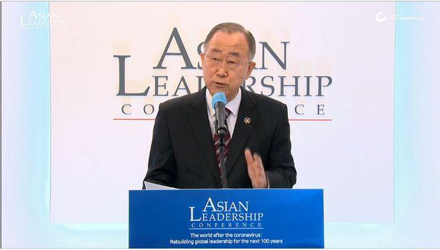 반기문 전 유엔 사무총장이 지난해 제11회 아시안 리더십 콘퍼런스(ALC)에서 연설하고 있다. /조선DB