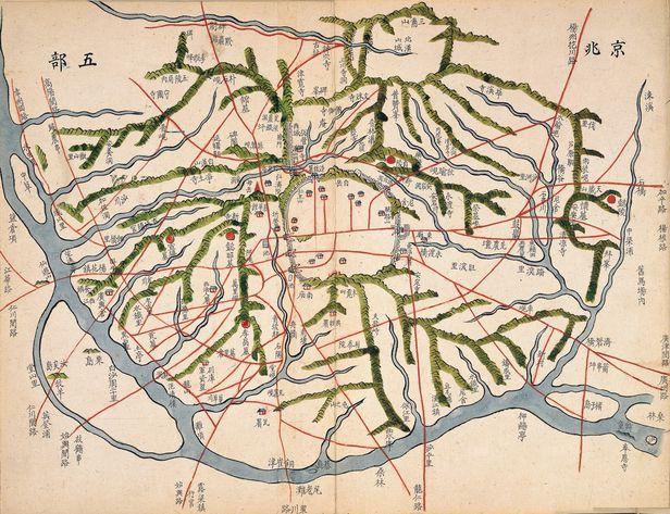 1840년 무렵 김정호가 만든 '동여도'의 경조오부도. 당시 사용하던 옛길들이 표시돼 있다. /한국학중앙연구원