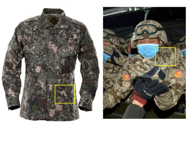 한국군이 사용 중인 신형 디지털 픽셀 전투복(왼쪽)과 북한의 지난 14일 열병식에 등장한 픽셀 전투복. 흰 사각형 부분 픽셀의 특정한 모양이 일치한다. /국방부, 조선중앙통신 연합뉴스