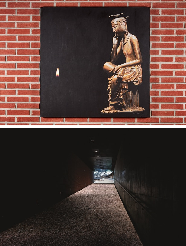 현대미술로 재해석한 불교. 위부터 이종구 화가가 그린 그림 '사유-생로병사', 복도에 설치된 김승영 작가의 영상 '쓸다'. /서소문성지역사박물관