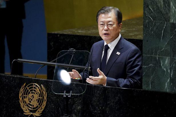 문재인 대통령이 21일 뉴욕 유엔 총회장에서 기조 연설을 하고 있다. /연합뉴스