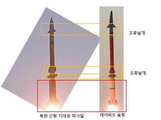 북한 신형 지대공 미사일과 이스라엘 데이비드 슬링 요격미사일(오른쪽).  부스터, 이중 조종날개 등 닮은 부분이 많다. /한국국방안보포럼