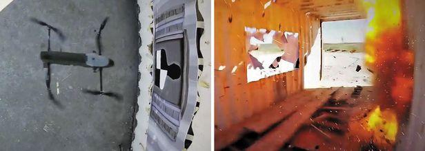 창문 정확히 뚫고 들어가 '쾅' - 요인제거용 자폭형 무인기(일명 킬러드론) '로템-L'이 목표물을 향해 다가가(왼쪽 사진), 목표물을 직접 타격·관통해 폭파하는 장면(오른쪽 사진). 로템-L 작전거리는 10㎞로 수류탄 2발 정도의 위력을 갖고 있다. /IAI