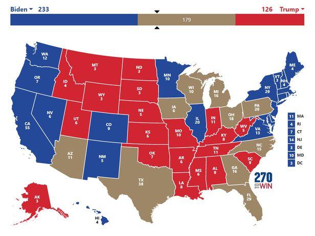 플로리다 펜실베이니아 등 6대 주요 경합주와 새롭게 경합지역으로 떠오른 텍사스와 조지아 주등 4개주 등 10대 경합주를 미국 지도에서 갈색으로 표시했다. 이들 10개주를 뺀 선거인단 확보 수에선 조 바이든 민주당 대선후보(파란색)가 233명을 이미 확보했고, 도널드 트럼프 대통령(붉은색)이 126명을 확보하 것으로 추정된다.  /270투윈 홈페이지 캡처