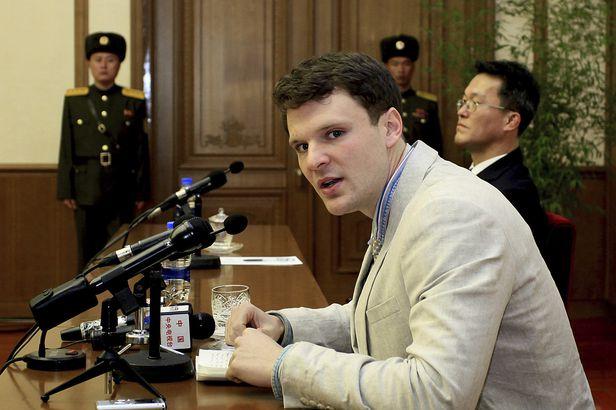 2016년 당시 북한에 억류된 미국 버지니아대 3학년 학생인 오토 웜비어(21)가 평양에서 기자회견을 하고 있는 모습. /AP 연합뉴스