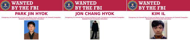 미국 법무부는 지난 17일(현지 시각)  전 세계의 은행과 기업에서 13억 달러(약 1조 4000억원) 이상의 현금 및 가상화폐를 빼돌리고 요구한 혐의로 북한 정찰총국 소속 3명의 해커를 기소했다고 밝혔다. 작년 12월에 제출된 공소장에 따르면 기소된 해커는 박진혁, 전창혁, 김일이라는 이름을 쓰고 있으며 북한군 정보기관인 정찰총국 소속이다./미 법무부 제공