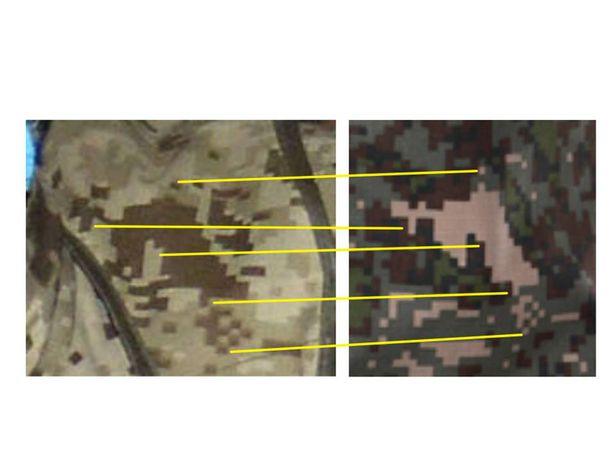 한국군이 사용 중인 신형 디지털 픽셀 전투복(오른쪽)과 북한의 지난 14일 열병식에 나타난 동일 픽셀 전투복./트위터