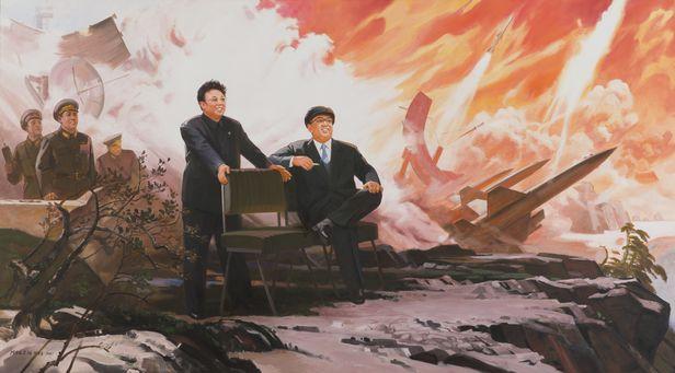 북한 화가 박영철이 그린 '미사일'. 김일성·김정일 부자가 미사일 발사를 보며 즐거워하는 그림이다. /조선일보 DB
