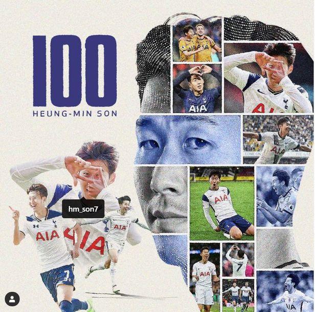 손흥민의 100호골을 축하하며  트트넘이 인스타그램에 올린 사진./ 토트넘 인스타그램