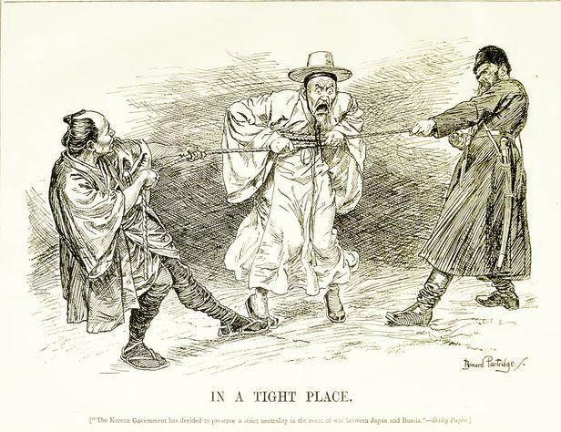 1904년 2월 3일 미국 '펀치'지 삽화. 러일전쟁 직전 러시아와 일본 사이에서 중립선언을 한 대한제국 처지를 묘사한 삽화다. 그때 대한제국 황제 광무제 고종은 궁궐 곳곳에 가마솥을 묻고 일본 지도를 가마솥에 삶았다.