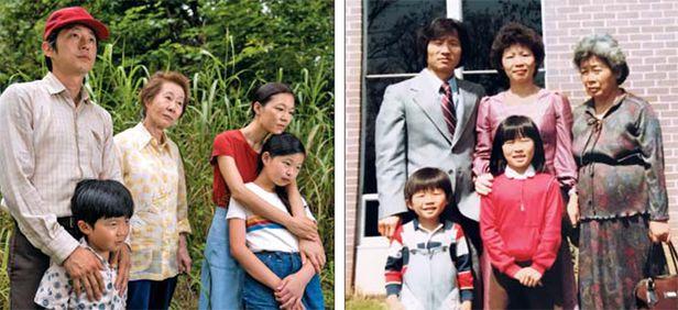 가족의 모습, 영화와 현실이 판박이 - 영화 '미나리'와 실제 가족사는 사진마저 꼭 닮았다. 영화(왼쪽 사진)에서 1980년대 미국에 정착하기 위해 분투하는 한인 가정의 장면. 스티븐 연(왼쪽 위부터 시계 방향), 윤여정·한예리·노엘 조·앨런 김. 오른쪽 사진은 정이삭 감독의 실제 가족. 아버지 정한길(왼쪽 위부터 시계 방향), 어머니 정선희, 외할머니 이명순, 딸 정이슬, 아들 정이삭. /AP연합뉴스, 정한길씨 제공