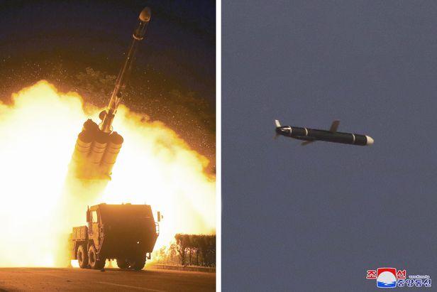 북한 국방과학원은 9월 11일과 12일 새로 개발한 신형장거리순항미사일시험발사를 성공적으로 진행했다고 조선중앙통신이 13일 보도했다. /연합뉴스