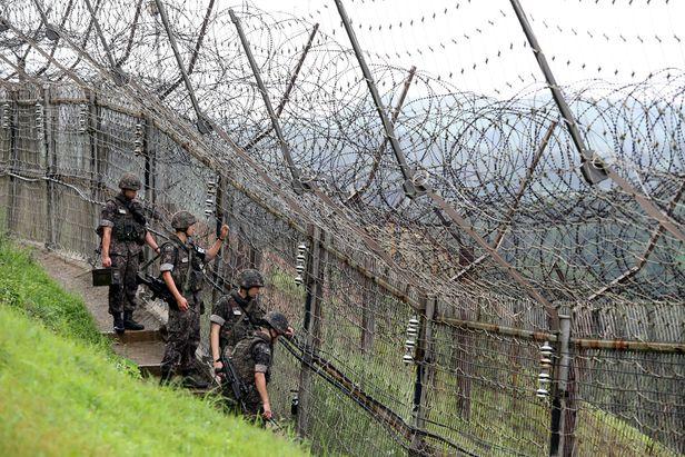 경기도 연천지역 최북단 접경지역 GOP(일반전초) 철책에서 장병들이 철책 정밀점검을 하며 경계작전을 펼치고 있다.